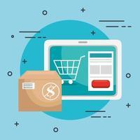 tabletapparaat met winkel-app en doos