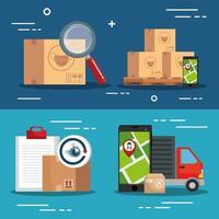 bestelwagen met logistiek banner pictogramserie