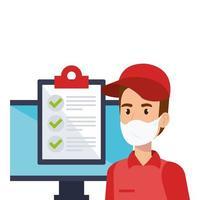 bezorger die een gezichtsmasker met checklist en computer draagt vector