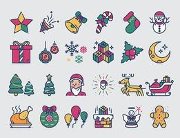 Kerst gekleurde lijn iconen set.