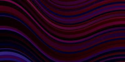 donkerblauw, rood vectorpatroon met gebogen lijnen.