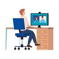 man in een videoconferentie op de werkplek