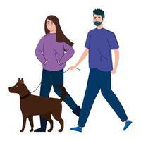paar wandelen samen met hun hond
