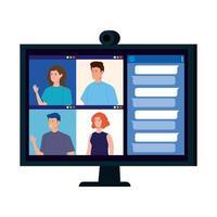 jongeren in een videoconferentie via computer