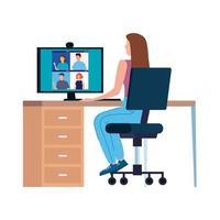 vrouw in een videoconferentie op de werkplek