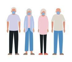 oudere vrouwen en mannen met maskers tegen covid 19-ontwerp vector