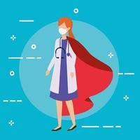 vrouwelijke arts die een gezichtsmasker draagt als een superheldin