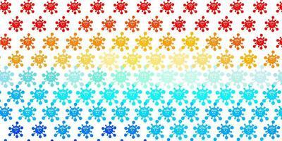 lichtblauw, rood vectorpatroon met coronaviruselementen