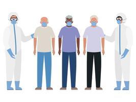 oudere mannen met maskers en artsen met beschermende pakken tegen covid 19 vectorontwerp