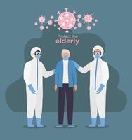 oudere man met masker en doktoren met beschermende pakken tegen covid 19-ontwerp