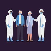 oudere vrouw en man met maskers en artsen met beschermende pakken tegen covid 19 vectorontwerp