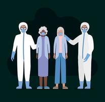 oudere vrouwen met maskers en artsen met beschermende pakken tegen covid 19 vectorontwerp
