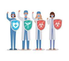 vrouwen en man artsenhelden met schilden tegen 2019 ncov-virus vectorontwerp