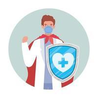 man arts held met cape en schild tegen 2019 ncov virus vector ontwerp