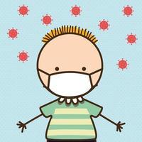 jongenskind met masker tegen 2019 ncov-virus vectorontwerp vector