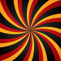 zwarte, rode en gele spiraalvormige wervelings radiale achtergrond. vortex en helix achtergrond. vector illustratie