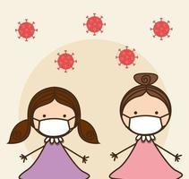 meisjeskinderen met maskers tegen 2019 ncov-virus vectorontwerp