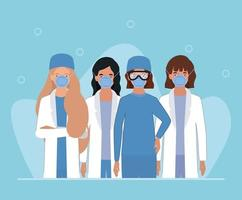 vrouwelijke artsen met maskers tegen 2019 ncov-virus vectorontwerp vector