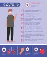 covid 19 tips voor viruspreventie en man avatar met masker vector ontwerp