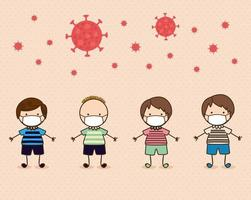 jongenskinderen met maskers tegen 2019 ncov-virus vectorontwerp vector