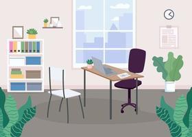 werkplek ontwerp egale kleur vectorillustratie
