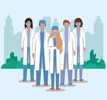mannelijke en vrouwelijke artsen met maskers tegen 2019 ncov-virus vectorontwerp