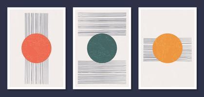 minimalistische geometrische vectorkunstmuuraffiches. set van minimale 20s geometrische abstracte hedendaagse posters vector sjabloon met primitieve vormen elementen ideaal voor wanddecoratie moderne hipster stijl