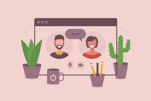 illustratie van twee gelukkige mensen praten via video-oproep in browservenster. lachende mannen en vrouwen werken en communiceren op afstand. teamvergadering vectorillustratie in plat ontwerp