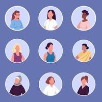 verschillende nationaliteiten vrouwen egale kleur vector gezichtsloze tekens pictogrammen instellen