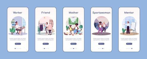 vrouwen sociale rollen onboarding mobiele app scherm platte vector sjabloon