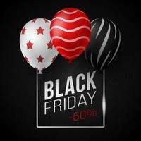 zwarte vrijdag verkoop poster met glanzende ballonnen op zwarte achtergrond met vierkante glazen frame. vector illustratie.
