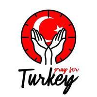 vector bid voor Turkije, twee handen die zachtjes positie met Turkse vlag erachter vasthouden