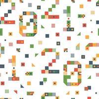 gelukkig nieuwjaar 2021 vector pixel kunst naadloze patroon. vakantie wenskaart illustratie. nummer van stroken, vierkanten en punten. geometrische nieuwe jaarachtergrond