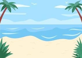 zandstrand en oeverloze oceaan egale kleur vectorillustratie