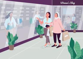 winkelen met vriendinnen egale kleur vectorillustratie