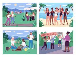 vrouwen groeperen activiteiten egale kleur vector illustratie set