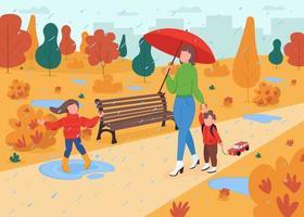 familie wandeling in herfst park egale kleur vectorillustratie