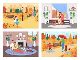 herfst activiteit egale kleur vector illustratie set