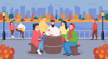 herfst stedelijke picknick egale kleur vectorillustratie