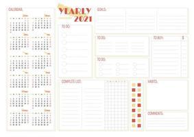jaarlijkse 2021 checklist creatieve planner pagina-ontwerp