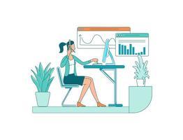 vrouwelijke werknemer egale kleur vector gezichtsloos karakter