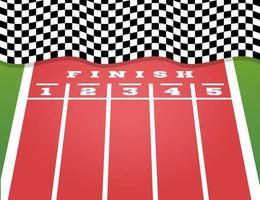perspectief finish op de kartbaan. wegmarkeringen
