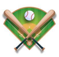 realistisch honkbalconcept met honkbal gekruiste knuppel, bal en veld. vector sport illustratie
