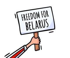 vrijheid voor Wit-Rusland op de poster. protesten in Wit-Rusland na de presidentsverkiezingen van 2020. een opgeheven poster uit protest