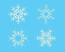 witte sneeuwvlok ingesteld op blauwe achtergrond vector