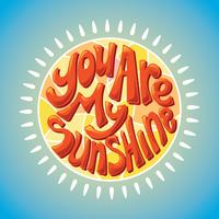 You Are My Sunshine Lettering met 3D-stijl vector