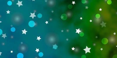 lichtblauwe, groene vectorachtergrond met cirkels, sterren.