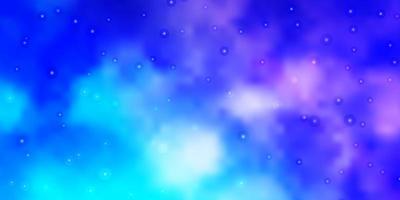 lichtroze, blauwe vectorachtergrond met kleine en grote sterren.