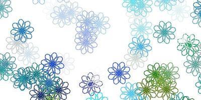 lichtblauwe, groene vector natuurlijke lay-out met bloemen.