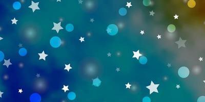 lichtblauwe vectorlay-out met cirkels, sterren.